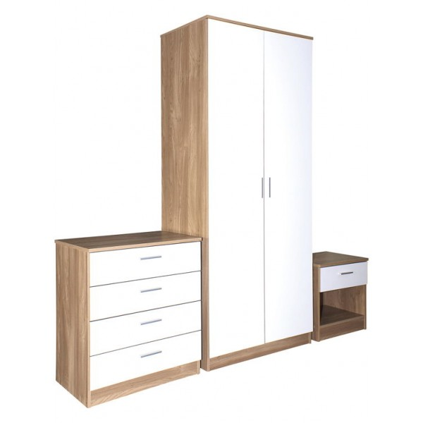 Ottawa White High Gloss and Oak Veneer Three Piece Bedroom Set