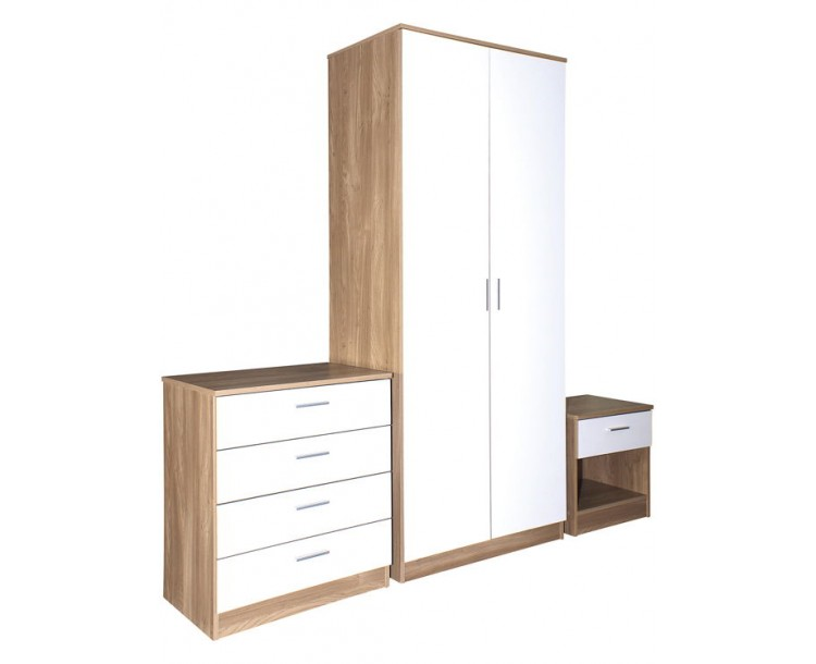 Ottawa White High Gloss and Oak Veneer Three Piece Bedroom Set