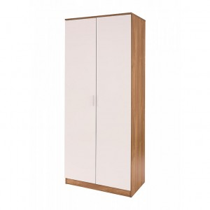Ottawa Double Wardrobe High Gloss White and Oak Frame