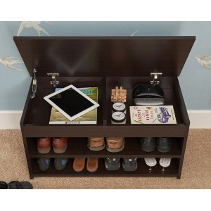 Modern Barcelona Lift Up 2 Tier Shoe Cabinet Espresso