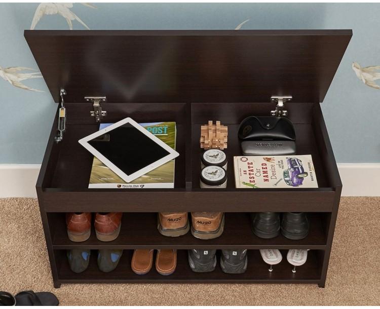 Modern Barcelona Lift Up 2 Tier Shoe Cabinet Espresso