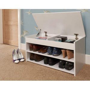 Modern Barcelona Lift Up Shoe Cabinet in White