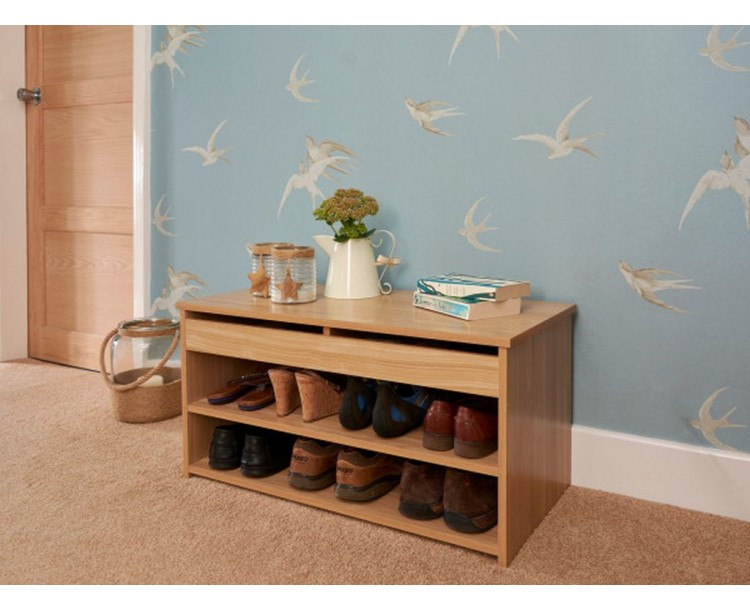 Modern Barcelona Lift Up Shoe Cabinet in Oak