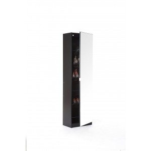 Modern Mirror Designed Shoe Cabinet in Black 150 cm