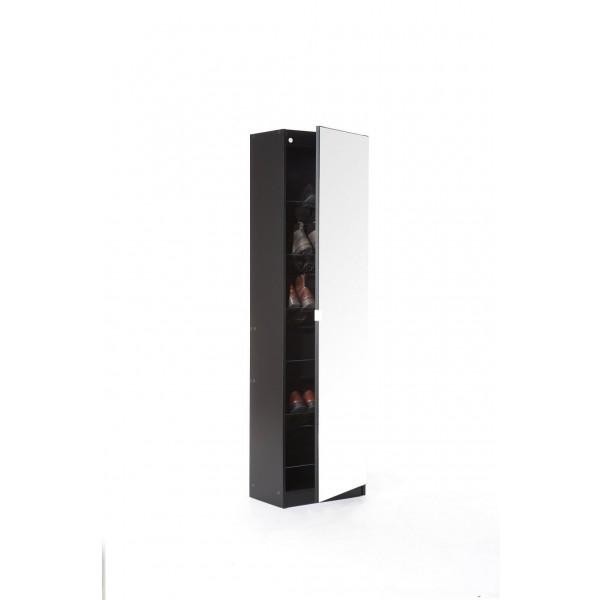 Modern Mirror Designed Shoe Cabinet in Black 180 cm