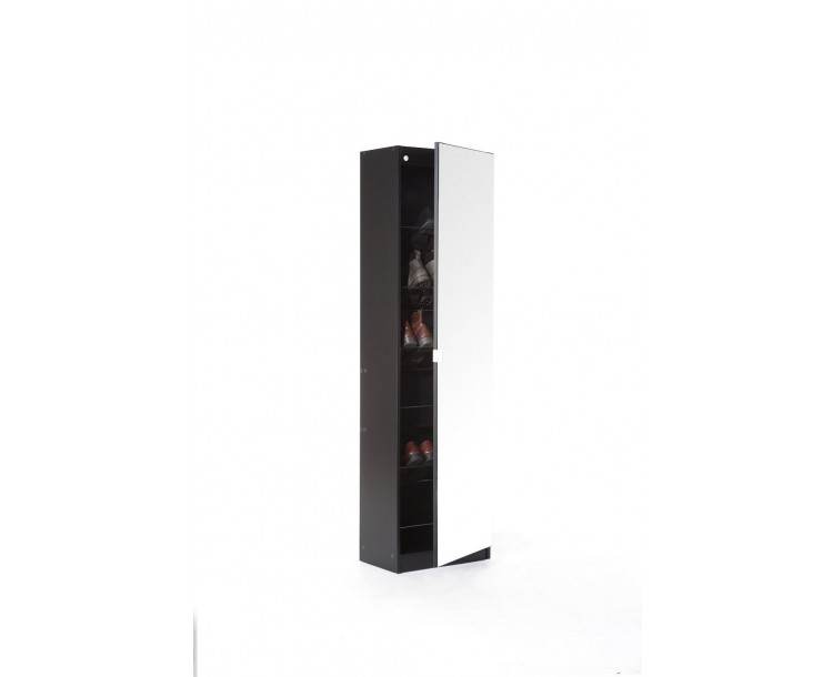 Modern Mirror Designed Shoe Cabinet in Black 180 cm