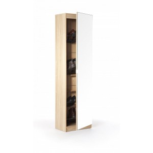 Modern Mirror Designed Shoe Cabinet in Oak 150 cm