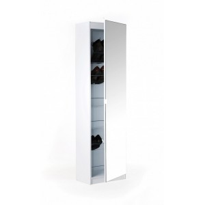 Modern Mirror Designed Shoe Cabinet in White 180 cm