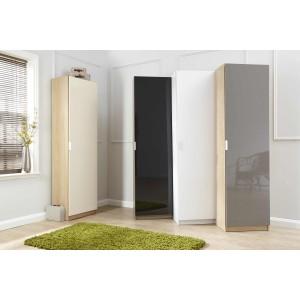 Modern Designer High Gloss Shoe Cabinet 180 cm in Oak/Grey
