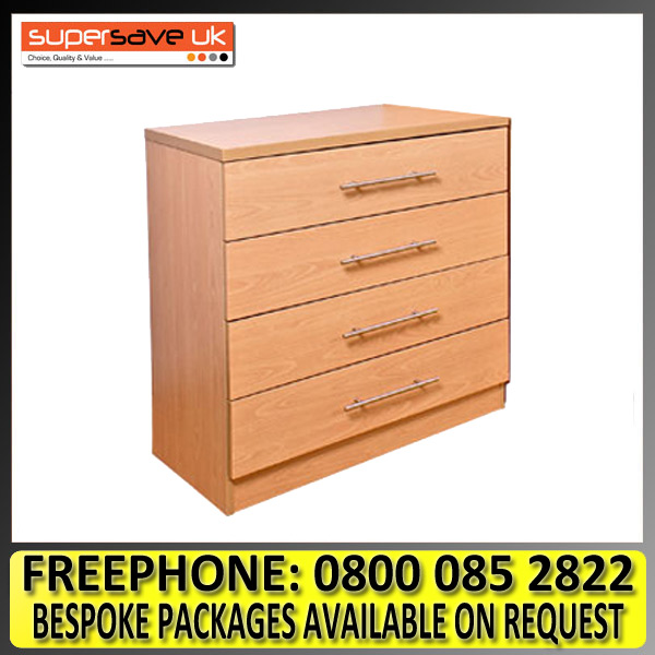 Vegas Beech Wide Chest of 4 Drawers Modern