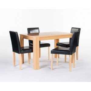 Cambridge Oak Finish Contemporary Dining Set 4 Chairs