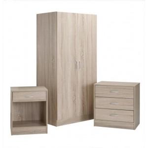 Delta Oak Effect Veneer Three Piece Bedroom Set