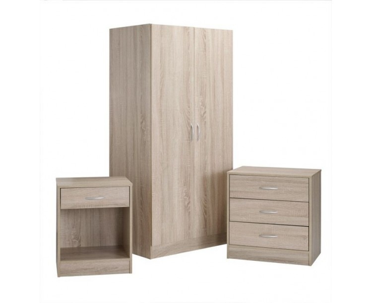 Delta Oak Effect Veneer Three Piece Bedroom Set