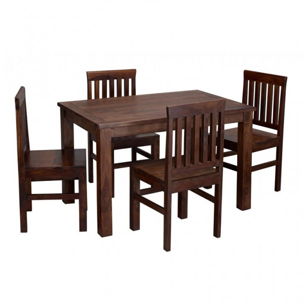 Jaipur Solid Sheesham Dark Wood Dining Set With 4 Chairs