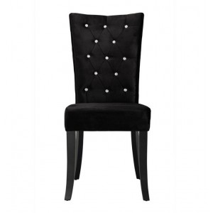 Radiance Set of 2 Diamante Dining Chair In Black Velvet Fabric