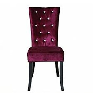 Radiance Set of 2 Diamante Dining Chair In Purple Velvet Fabric