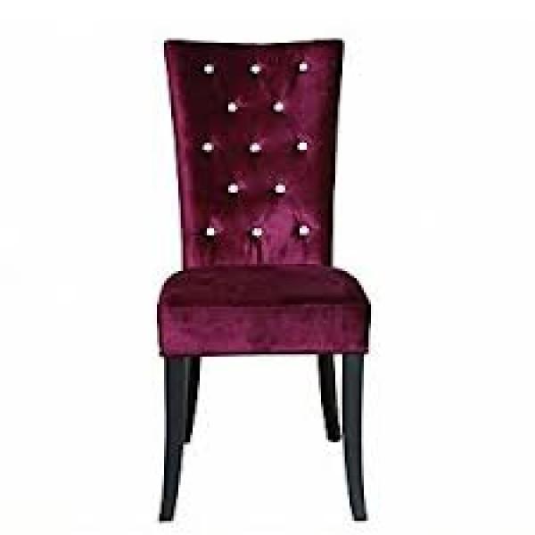 Radiance Set of 2 Diamante Dining Chair In Purple Velvet Fabric