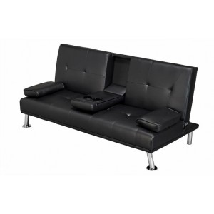 Cinema Fold Down Sofa Bed Black Faux Leather