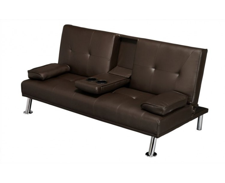 Cinema Fold Down Sofa Bed Brown Faux Leather