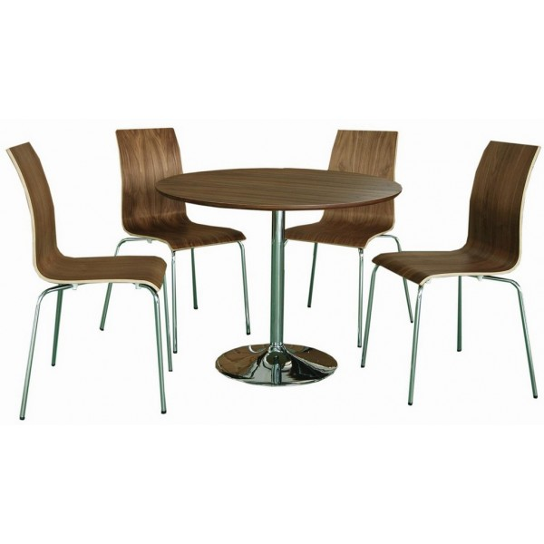 Soho Walnut Veneer Bentwood Contemporary Dining Set With 4 Chairs