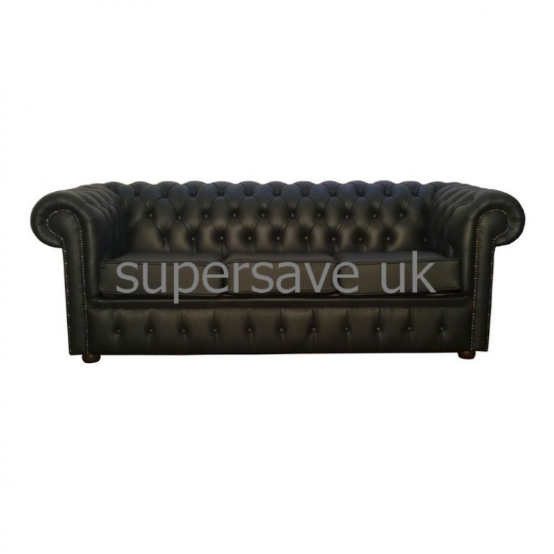 chesterfield shelly black genuine leather three seater sofa bed