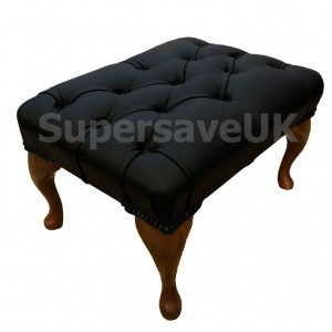 Chesterfield Shelly Black Genuine Leather Queen Anne Footstool