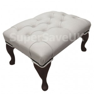 Chesterfield Shelly White Genuine Leather Queen Anne Footstool