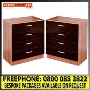 Set of 2x Modern Black High Gloss / Walnut Chest of 4 Drawers