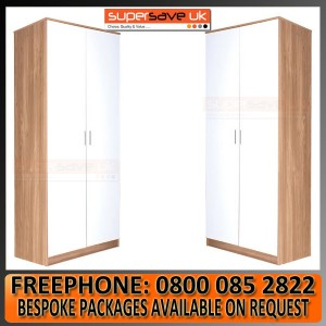 Set of 2x 2 Door Double Wardrobe White High Gloss / Oak Frame