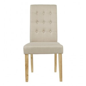 Roma Set of 2 Beige Fabric Dining Chairs With Oak Legs
