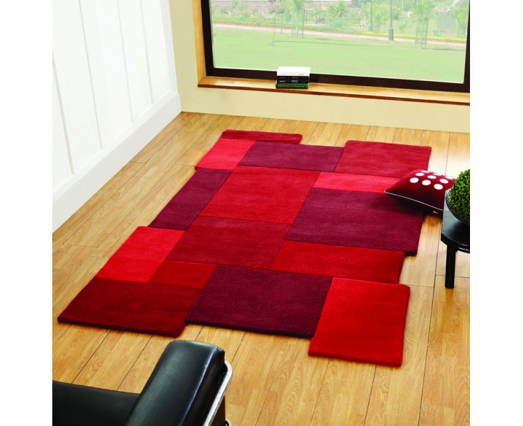 Abstract Collage Red 100% Wool Rug