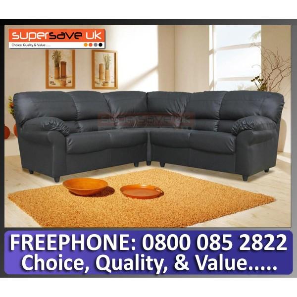 Polo Corner Group Sofa Black Faux PU Leather Modern Contemporary