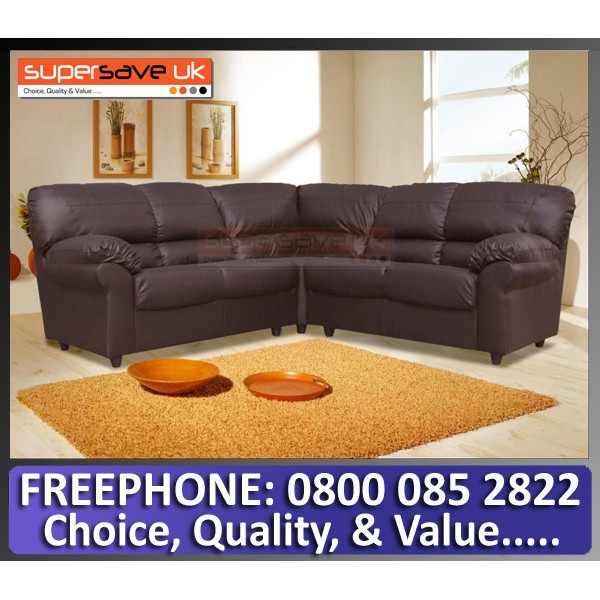 Polo Corner Group Sofa Brown Faux PU Leather Modern Contemporary