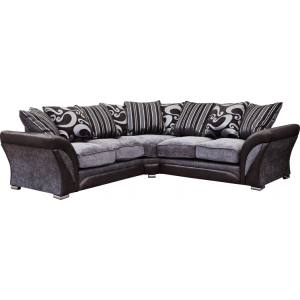 Manhattan Black and Silver Swirl Fabric Corner Sofa