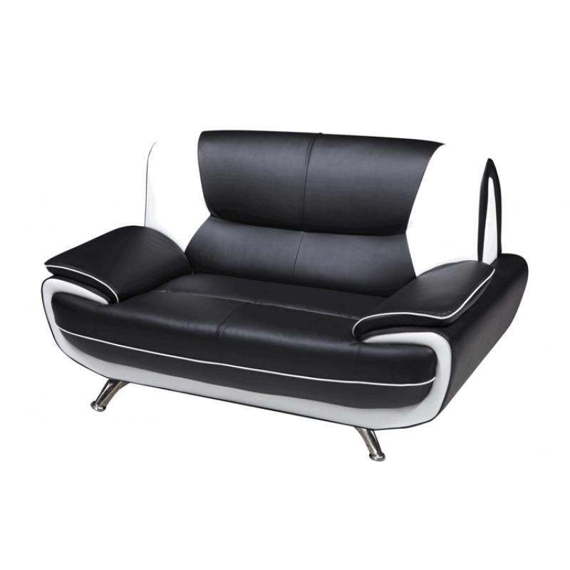 Lewis Black White Faux Leather Two Seater Sofa