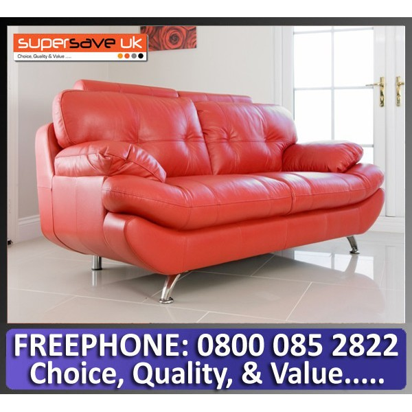 Verona 2 Seater Sofa Red Faux PU Leather New Modern Contemporary