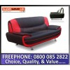 Lewis 2 Seater Sofa Black / Red Quality Faux PU Leather Contemporary