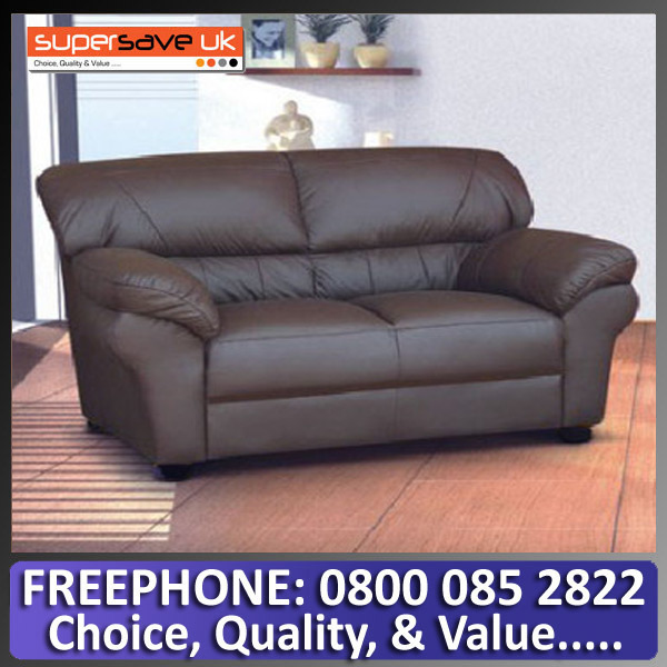 Polo 2 Seater Sofa Brown Faux PU Leather Modern Contemporary