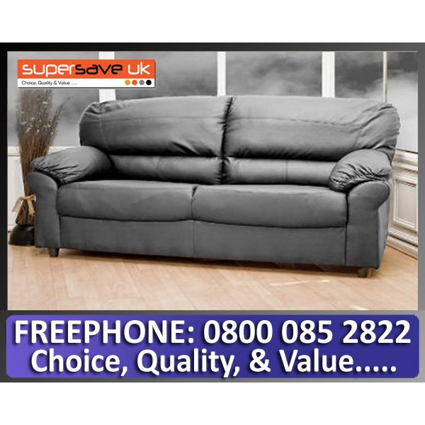 Polo 3 Seater Sofa Black Faux PU Leather Modern Contemporary