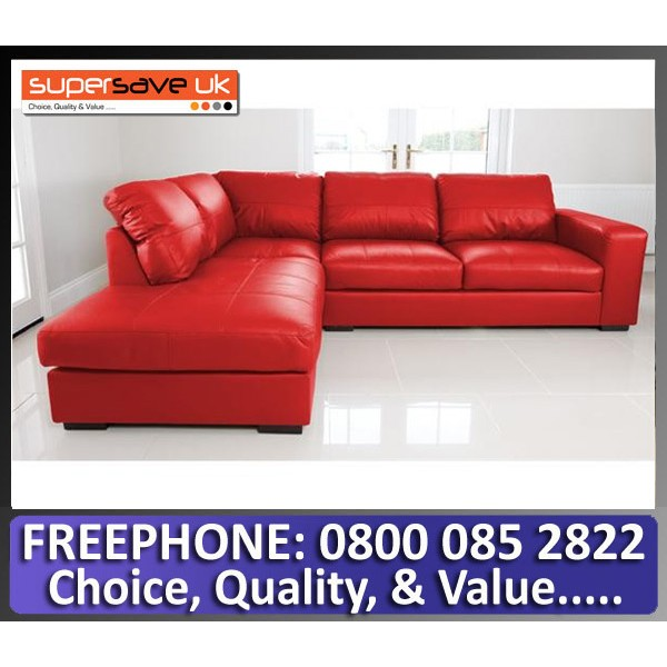 Venice Left Corner Group Sofa Red Faux PU Leather Modern Contemporary