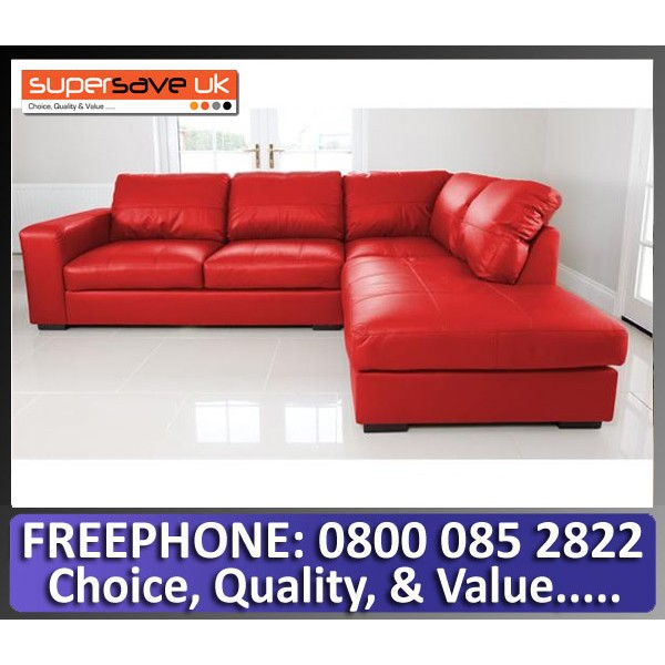 Venice Right Corner Group Sofa Red Faux PU Leather Modern Contemporary